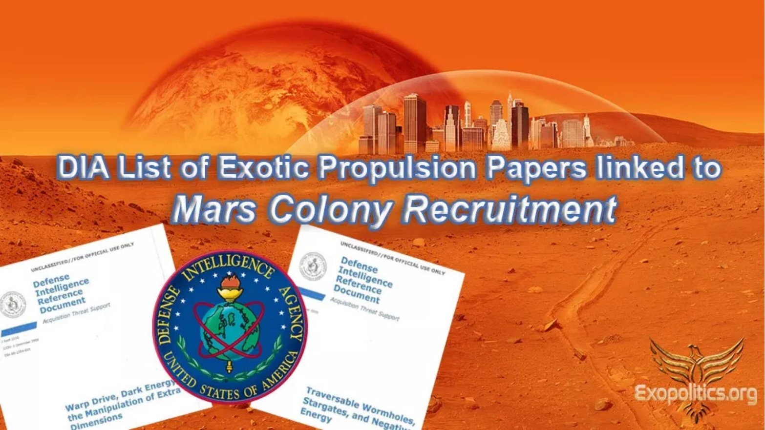 Liste de documents de Propulsion exotique DIA liée au recrutement de colonie de Mars (Laura Magdalene Eisenhower, Michael Salla)