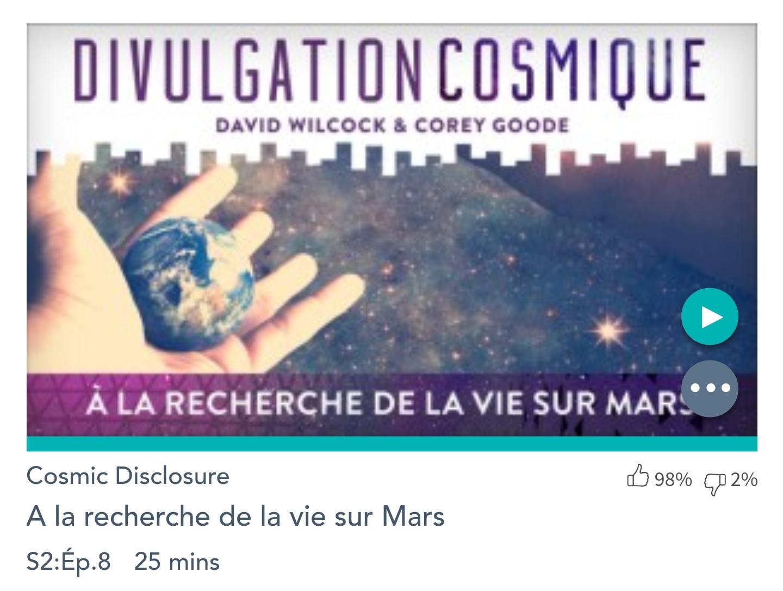 Émission «DIVULGATION COSMIQUE», l'intégrale.  Saison 2, épisode 8/17 : À LA RECHERCHE DE LA VIE SUR MARS