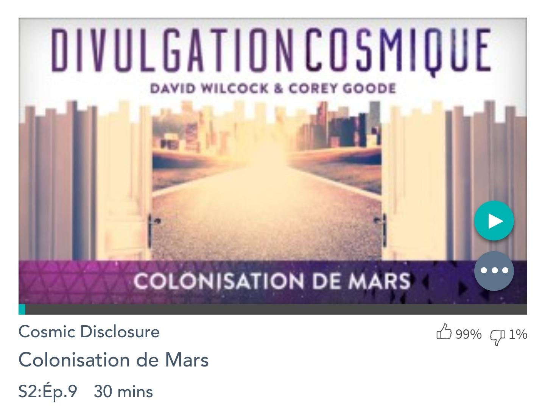Émission «DIVULGATION COSMIQUE», l'intégrale. Saison 2, épisode 9/17 : LA COLONISATION DE MARS