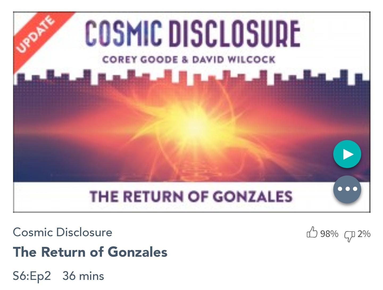 Émission « DIVULGATION COSMIQUE », l'intégrale. Saison 6, épisode 2/17 : LE RETOUR DE GONZALES