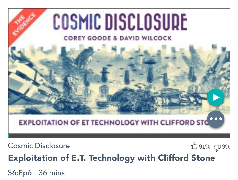 Émission « DIVULGATION COSMIQUE », l'intégrale. Saison 6, épisode 6/17 : EXPLOITATION DE LA TECHNOLOGIE E.T. AVEC CLIFFORD STONE
