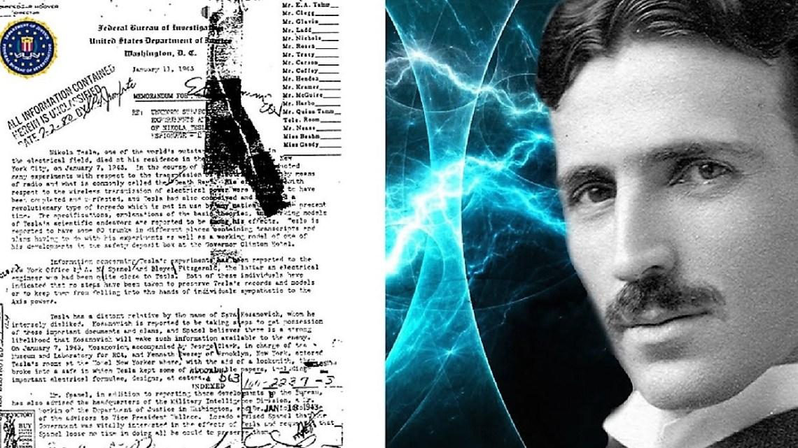300 documents secrets saisis après la mort de Nikola Tesla maintenant disponibles sur le site du FBI