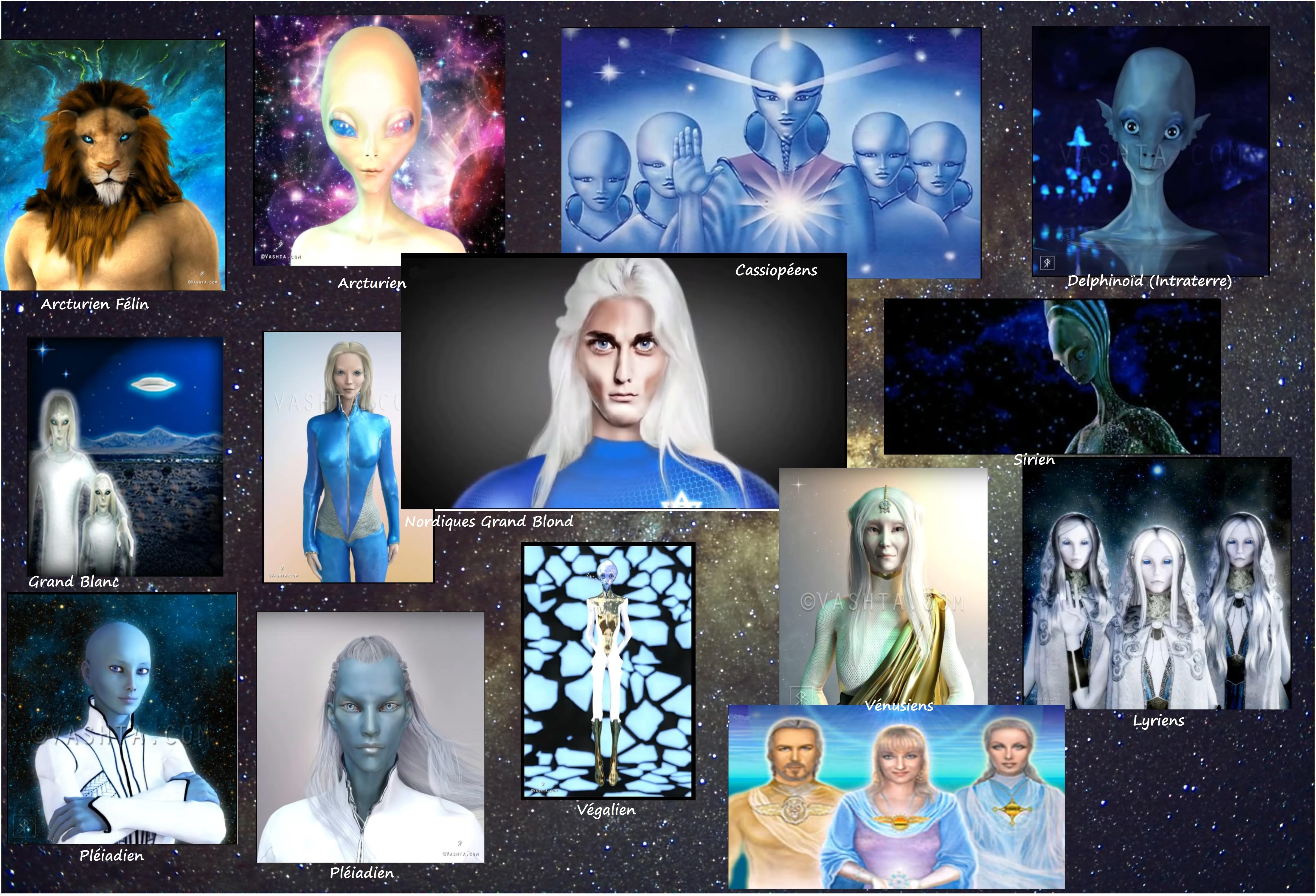 Tour d'horizon présentant de nombreux groupes extraterrestres et galactiques
